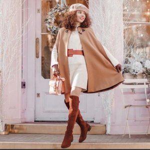 Zara Camel Manteco Wool Long Cape with Pockets